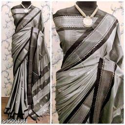 KMH Traditional Paithani Silk Sarees With Contrast Blouse Piece (3D Grey & Black)