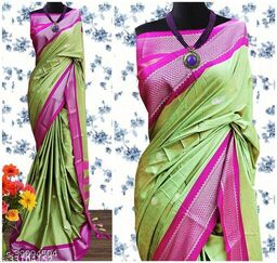 KMH Traditional Paithani Silk Sarees With Contrast Blouse Piece (3D Olive & Silver Pink)