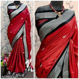 KMH Traditional Paithani Silk Sarees With Contrast Blouse Piece (3D Red & Silver Black)