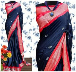 KMH Traditional Paithani Silk Sarees With Contrast Blouse Piece (3D Navy & Silver Red)