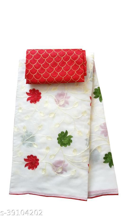 TRIPZIRA self design Chanderi Cotton Silk Saree with blouse