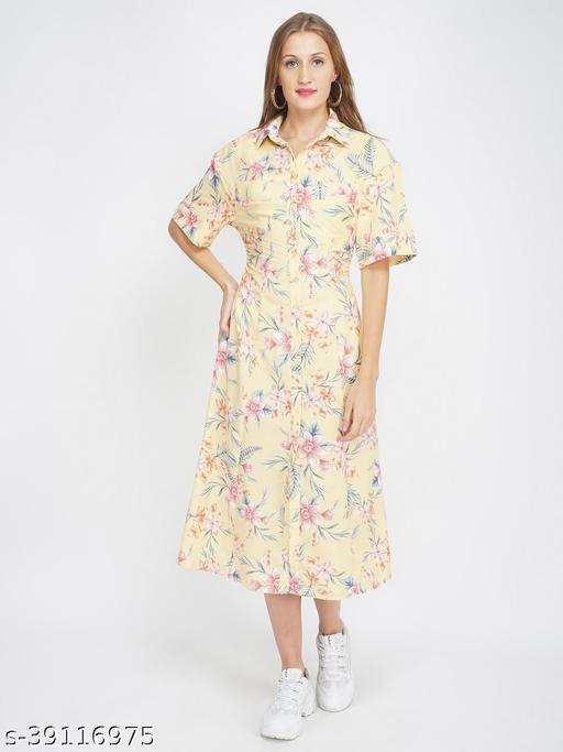 Summer Brunch Floral Midi Shirt Dress