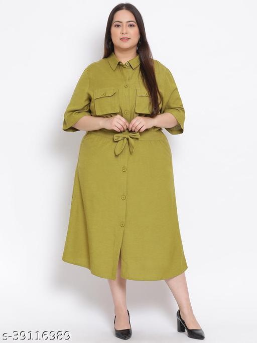 Olive Green Plus Size Midi Shirt Linen Blend Dress