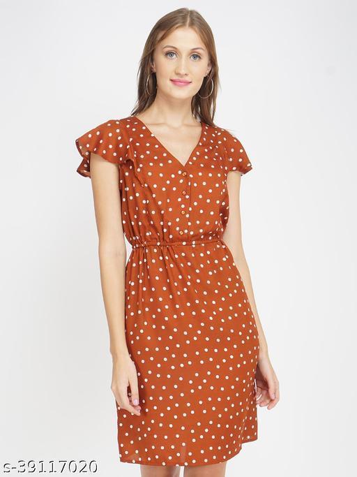 Brown Polka Print Women's Shift Dress
