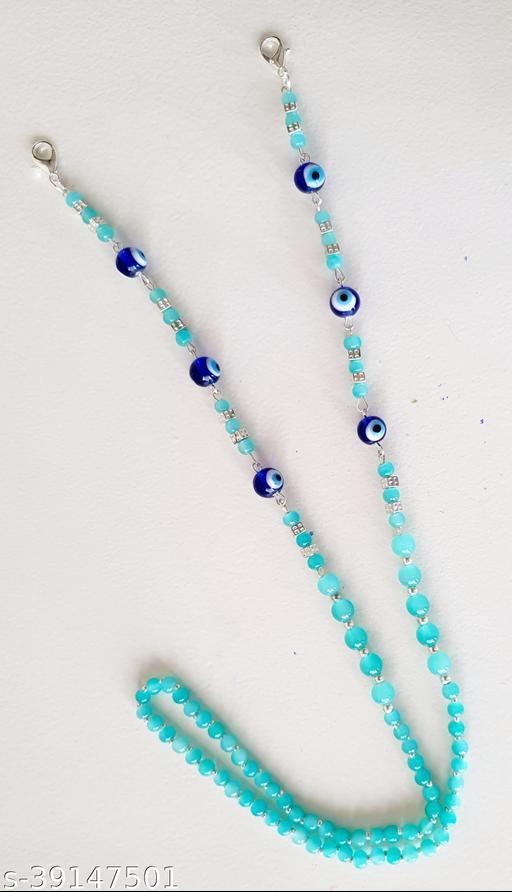 Heddz Turquoise Glass Beaded Mask Chain - Evileye Lanyard Chain Mask Holder - Beaded Eye Glasses String Eyeglass Holders - Mask Chains and Beaded Cords for Women