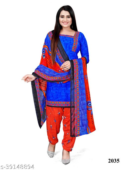 Paradise Prints Women's Blue Crepe Printed Unstitched Dress material salwar suit