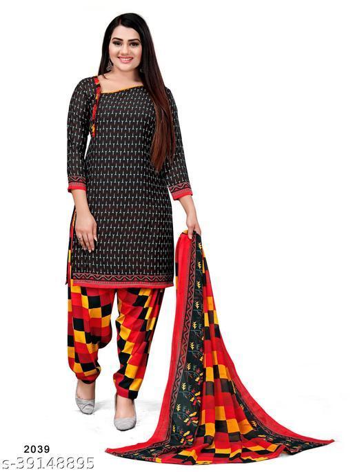 Paradise Prints Women's Black Crepe Printed Unstitched Dress material salwar suit