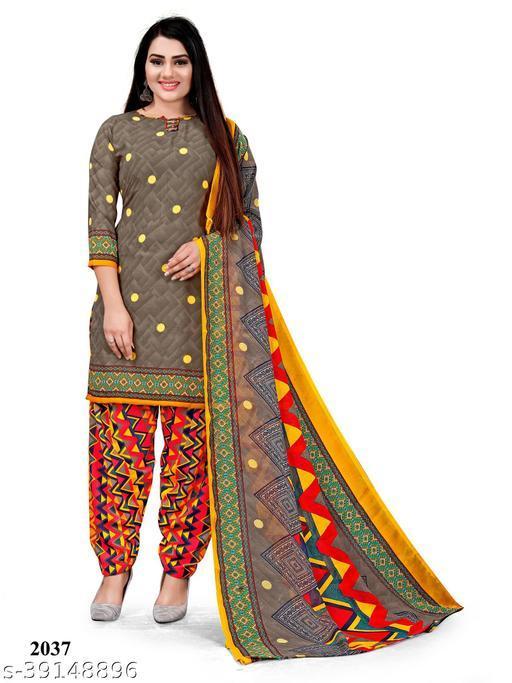 Paradise Prints Women's Grey Crepe Printed Unstitched Dress material salwar suit