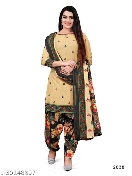 Paradise Prints Women's Beige Crepe Printed Unstitched Dress material salwar suit