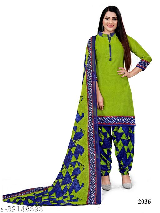 Paradise Prints Women's Green Crepe Printed Unstitched Dress material salwar suit