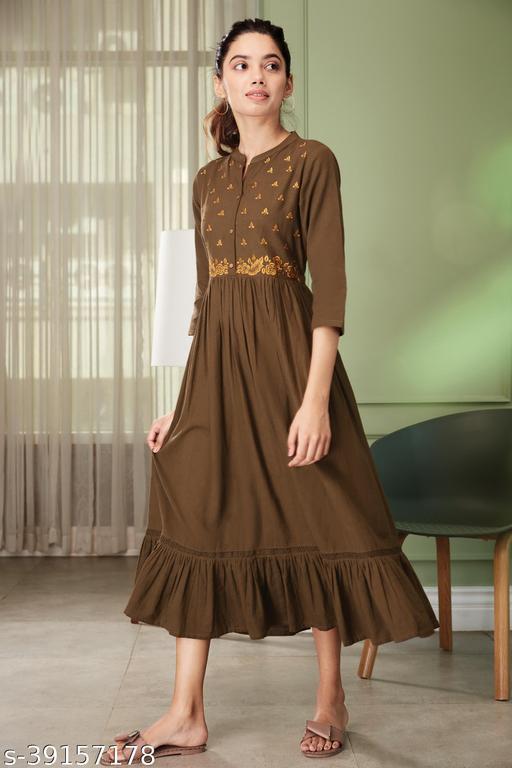Janasya Women's Olive Cotton Flex Western Dress
