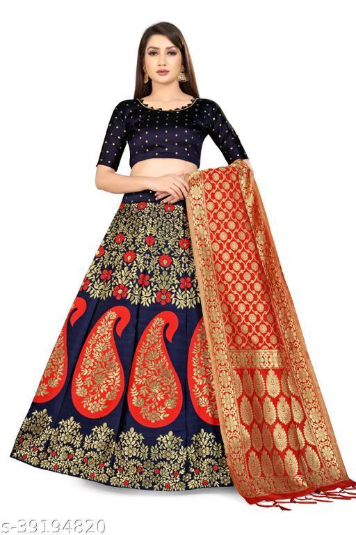 Womens Banarasi Silk Jacquard Semi Stitched Lehenga Choli