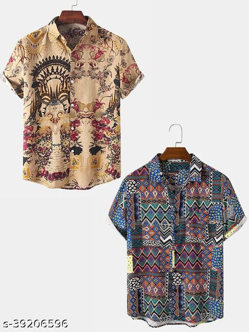 Khankudi's Abstract Element Pattern Print Breathable Shirts (PACK OF 2)