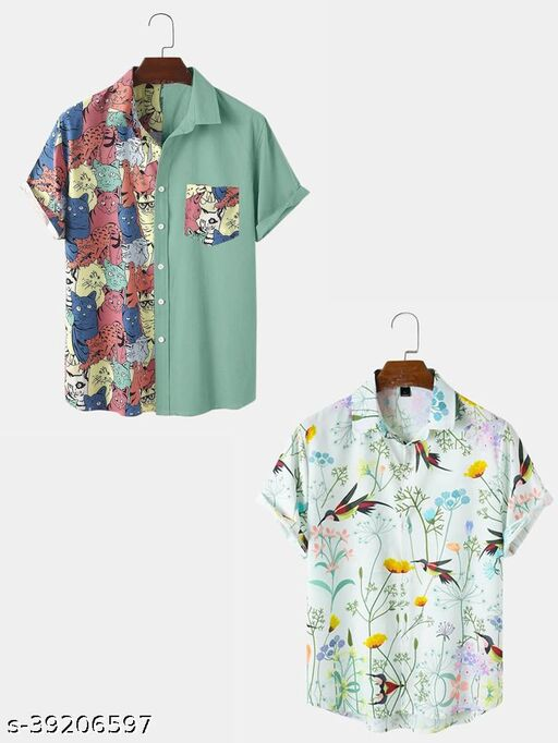 Abstract Element Pattern Print Breathable Shirts(PACK OF 2)