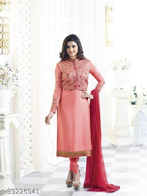 Pink Embroidery Work Jacket Style Suit