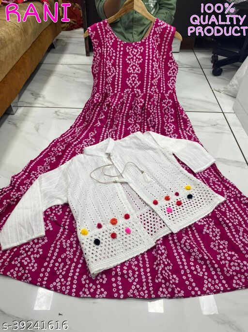 WOMEN MOST SALEABLE AND POPULAR BANDHEJ KURTI WITH KOTI DESIGN VERY LOWEST RATE AND BEST QULITY