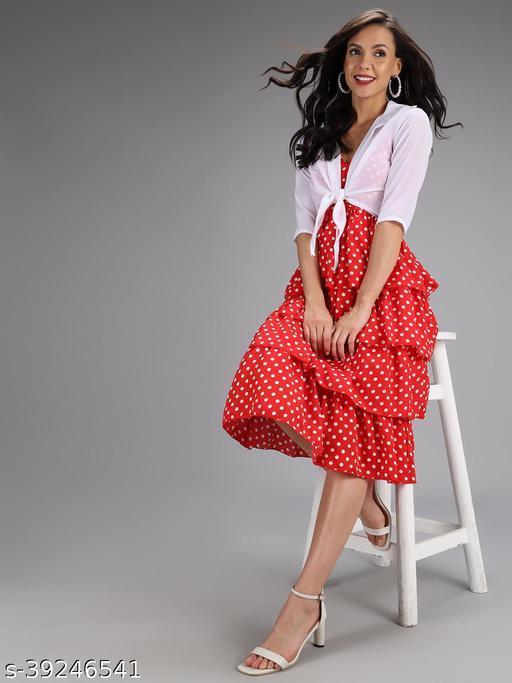 Loe Woman  Designer Polka Dot Red Dress With Jacket