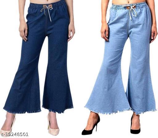 Trendy Flying Stylish Regular Fit Denim Blue Women Jeans For Girls(Pack Of 2)