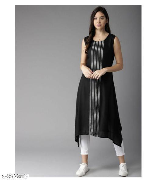 Women Crepe Assymetrical Stripe Kurti