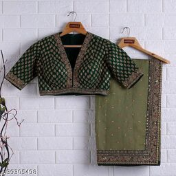 Designer rangoli silk saree with sequance embroider work