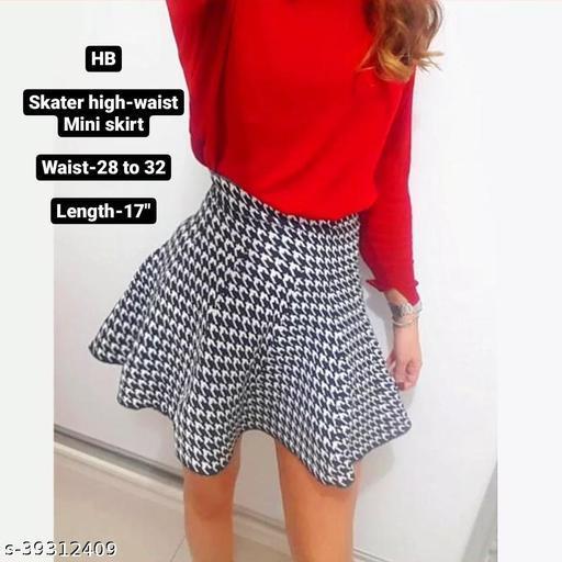 "High Waist skater skirt fully strechable from 28"" to 32"" - black and white"