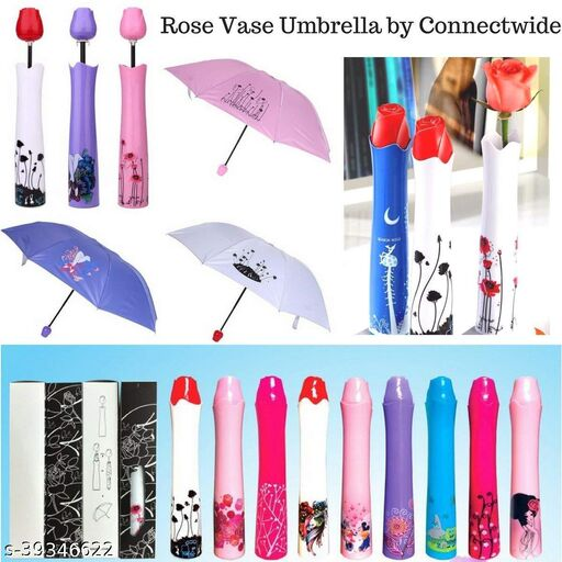 Delson Creative Rose Flower Case Canvas Plastic Umbrella with Waterproof and Compact Bottle for Monsoon and Summer (multi) Pack of 1