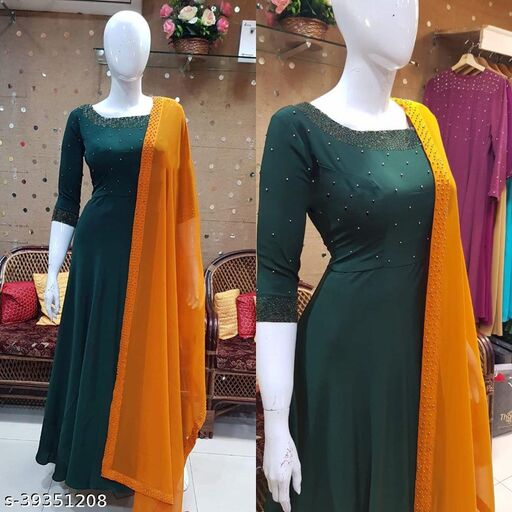 Attractive Green Coloured Partywear Georgette Floor Touch Gown with Diamond Work