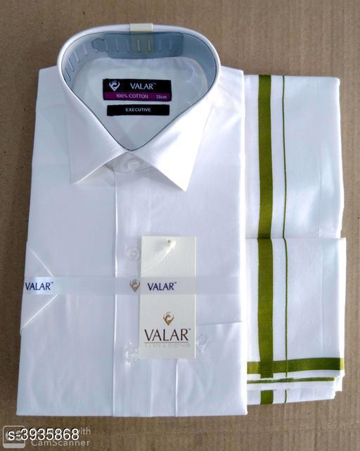 Elegant Men's Cotton Dhotis With Shirt