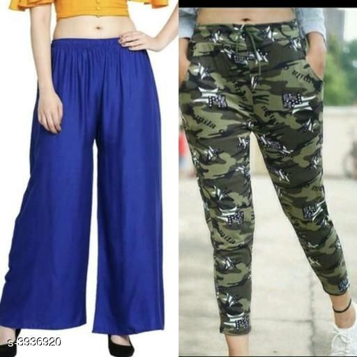 Trousers & Pants Athena Fashionable Women's Palazzo & Pant Combo  *Fabric* palazzo - Rayon, Pant - lycra   *Size* Up To 28 in To 36 in ( Free Size )   *Length* Up To 38 in   *Type* Stitched   *Description* It Has 1 Pieces Of Women's palazzo And 1 Pieces Of Women's Pant   *Work / Pattern* Pant - Printed, Palazzo - Solid  *Sizes Available* Free Size, 28, 30, 32, 34, 36 *    Catalog Name: Free Gift Wrapped  Athena Fashionable Women's Bottomwear Combo Vol 19 CatalogID_554716 C79-SC1034 Code: 384-3936920-
