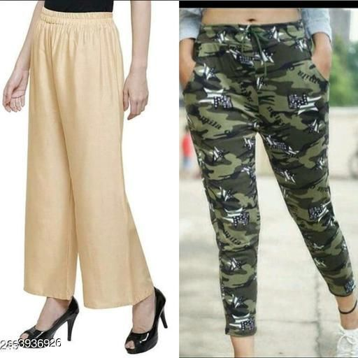 Trousers & Pants Athena Fashionable Women's Palazzo & Pant Combo  *Fabric* palazzo - Rayon, Pant - lycra   *Size* Up To 28 in To 36 in ( Free Size )   *Length* Up To 38 in   *Type* Stitched   *Description* It Has 1 Pieces Of Women's palazzo And 1 Pieces Of Women's Pant   *Work / Pattern* Pant - Printed, Palazzo - Solid  *Sizes Available* Free Size, 28, 30, 32, 34, 36 *    Catalog Name: Free Gift Wrapped  Athena Fashionable Women's Bottomwear Combo Vol 19 CatalogID_554716 C79-SC1034 Code: 384-3936926-