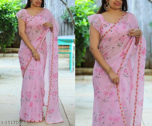 Women's heavy georgette pink sequence sarees