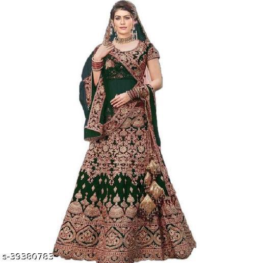 Fancy Trendy Women's Green Heavy Satin Semi Stitched Lehenga Choli (DOLLY-GREEN-LEHENGA_Heavy Satin_Green)