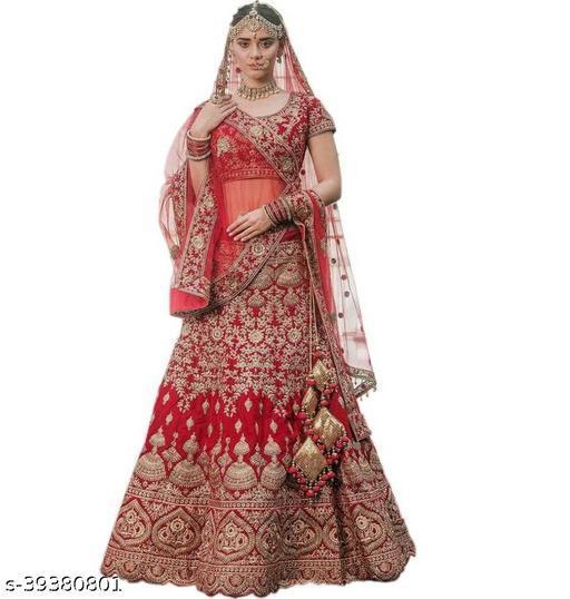 Fancy Trendy Women's Red Heavy Satin Semi Stitched Lehenga Choli (DOLLY-RED-LEHENGA_Heavy Satin_Red)