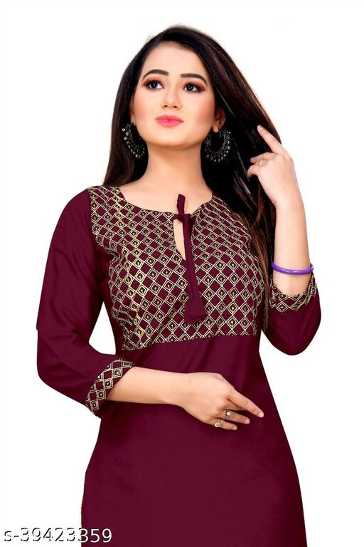 Demanding Wine Colored Embroidered Office Wear Rayon Only Kurti