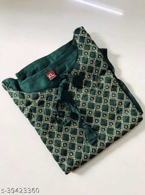 Demanding Green Colored Embroidered Office Wear Rayon Only Kurti