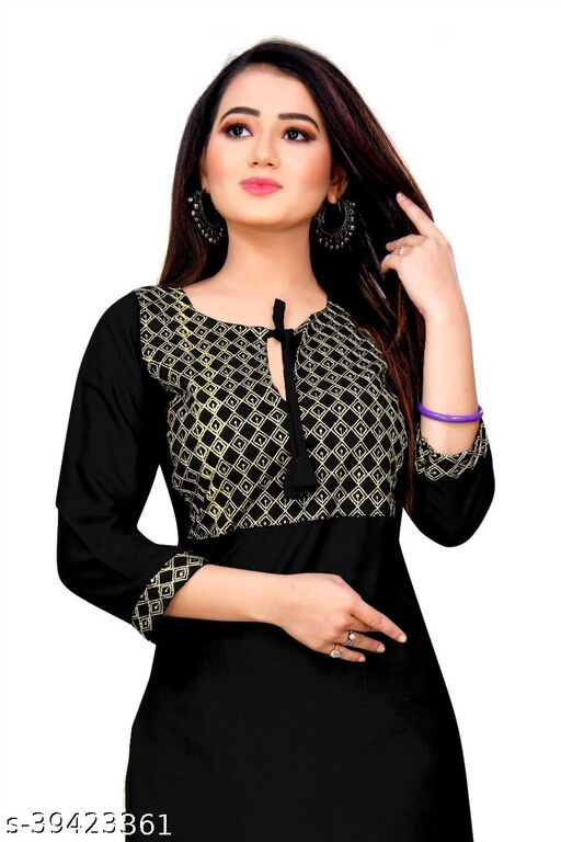 Demanding Black Colored Embroidered Office Wear Rayon Only Kurti