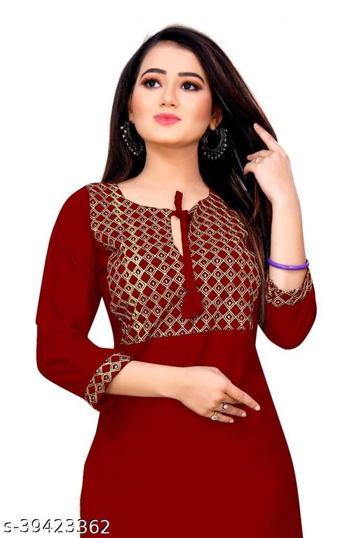 Demanding Red Colored Embroidered Office Wear Rayon Only Kurti
