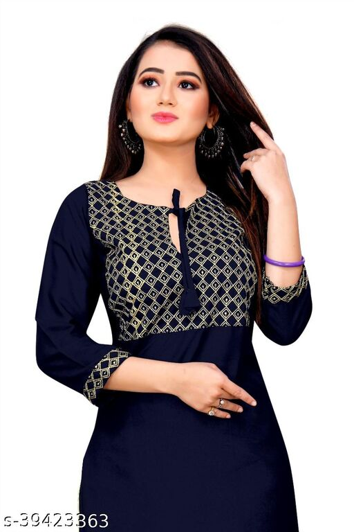 Demanding Blue Colored Embroidered Office Wear Rayon Only Kurti