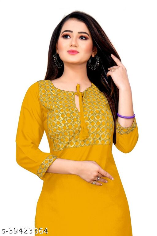 Demanding Yellow Colored Embroidered Office Wear Rayon Only Kurti