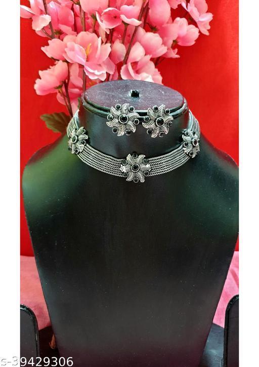 BJS Rings Oxidized Floral Black Crystal Jewellery Set