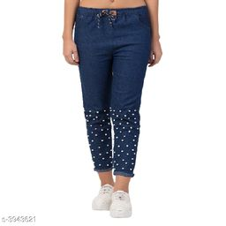 Casual Pearl Style Jeans For Women's