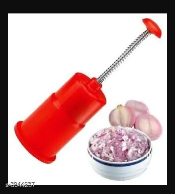 Push And Chop Onion Chopper- Red