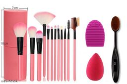 Professional Series Makeup Brush Set With Storage Barrel - Pink(Pack of 12) oval brush & Brush Cleansing puff