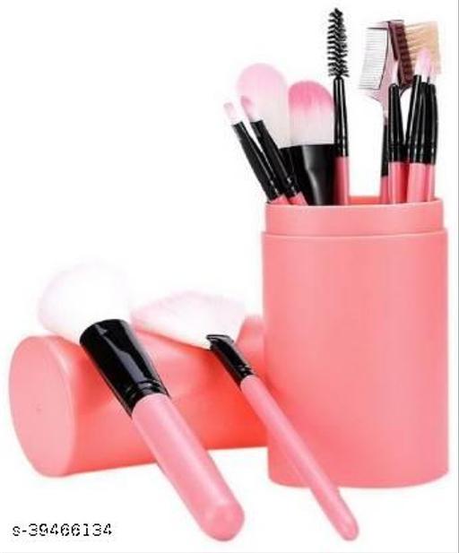 Professional Series Makeup Brush Set With Storage Barrel - Pink(Pack of 12)