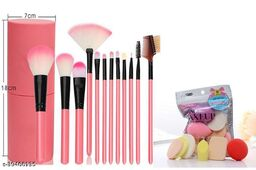 Professional Series Makeup Brush Set With Storage Barrel - Pink(Pack of 12) With Makup spong set