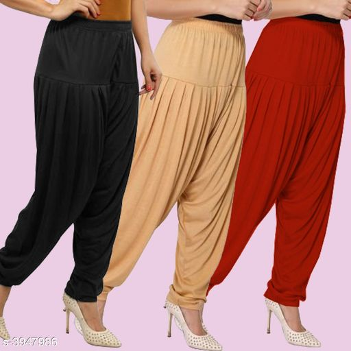 Classy Solid Viscose Women's Patiala Pants Combo