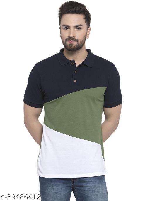 Kalt Men Half Sleeves Polo Neck Cotton Blend T-Shirt