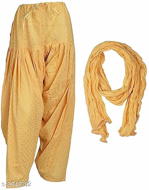 Ethnic Bottomwear - Patiala Pants Pretty Cotton Patiala Pant With Dupatta Set  *Fabric* Patiala  - Cotton, Dupatta - Cotton  *Size* Patiala  - Up To 28 in To 36 in (Free Size) , Dupatta - 2.25 mtr  *Length* Up To 40 in  *Type* Stitched  *Description* It Has 1 Piece Of Patiala Pant & 1 Piece Of Dupatta  *Work / Pattern * Patiala - Printed, Dupatta - Solid  *Sizes Available* Free Size *    Catalog Name: Jivika Pretty Cotton Patiala Pant With Dupatta Sets Vol 3 CatalogID_556623 C74-SC1018 Code: 254-3948782-