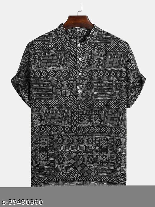 Ethnic Pattern Printed Casual Shirts