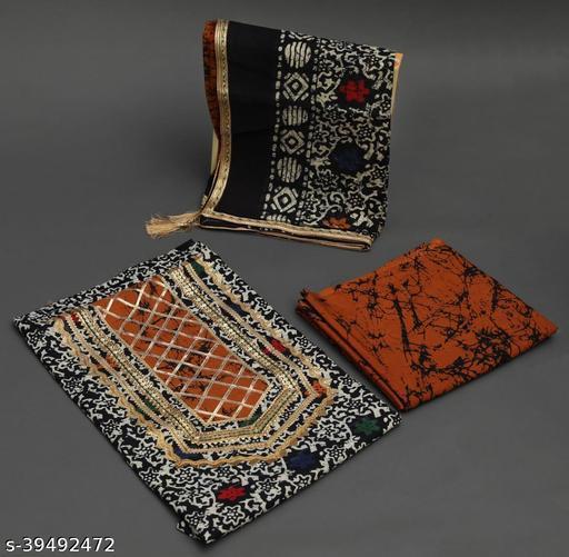 Gota Patti Cotton Suit Fabrics with Cotton Dupatta